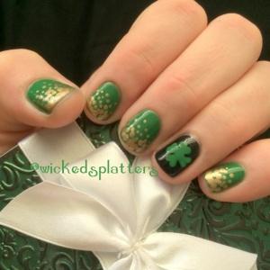 st patricks day nails st pattys day nails st paddys saint green pot of gold four leaf clover shamrock nails nail art nailart